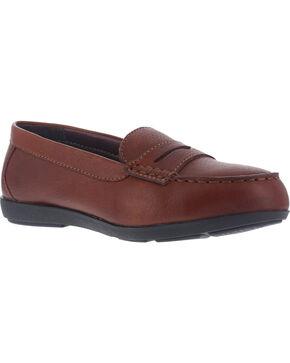 Rockport Women's Top Shore Safety Loafer Shoes - Steel Toe , Brown, hi-res