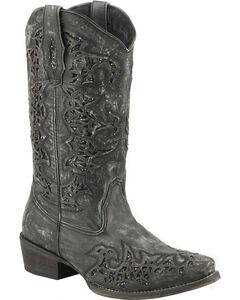 Roper Sanded Leather Black Glitter Cowgirl Boots - Snip Toe , , hi-res