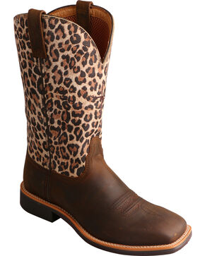 Twisted X Brown Leopard Top Hand Cowgirl Boots - Square Toe , Brown, hi-res