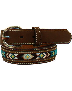 Nocona Boys' Diamond Concho Belt , Brown, hi-res