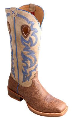 "Twisted X 16"" Cream Buckaroo Cowboy Boots - Square Toe, , hi-res"