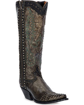 Dan Post Tempted Studded Cowgirl Boots - Snip Toe  , Taupe, hi-res