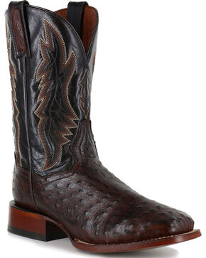 Dan Post Men's Ostrich Brown Exotic Boots - Square Toe , Brown, hi-res