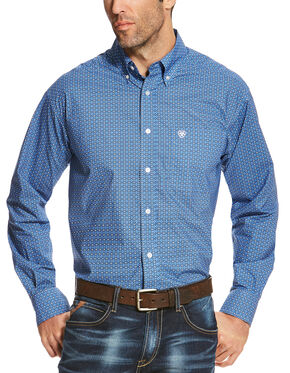 Ariat Men's Blue Oldham Print Long Sleeve Shirt - Big and Tall , Multi, hi-res