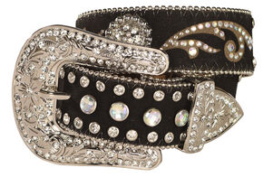 Girls' Rhinestone Inlay Western Belt, Black, hi-res