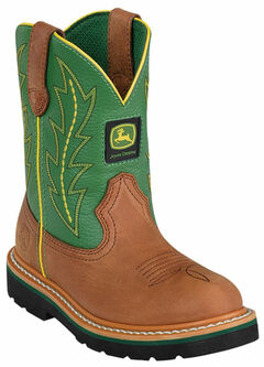 John Deere Youth Boys' Johnny Popper Green Western Boots - Round Toe, , hi-res