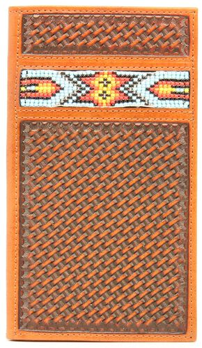 Nocona Aztec Beaded Basketweave Rodeo Wallet, Natural, hi-res
