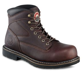 "Irish Setter by Red Wing Farmington King Toe 6"" Lace-Up Work Boots - Steel Toe, Brown, hi-res"