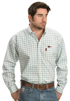 Cinch Green and White Plaid Flame Resistant Work Shirt, , hi-res
