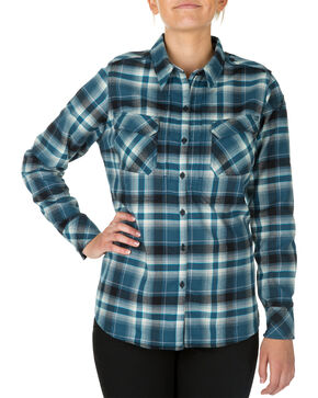 5.11 Tactical Women's Heartbreaker Flannel Shirt , Blue, hi-res