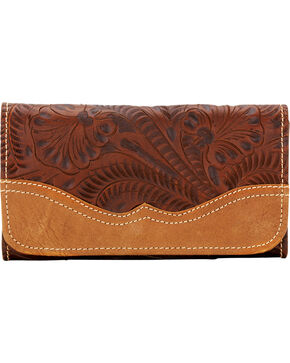 American West Women's Birds of a Feather Leather Tri-Fold Wallet, Brown, hi-res