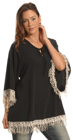 Lawman Women's Black Crochet Trimmed Top - Plus Sizes, Black, hi-res