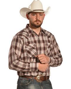 Ely Men's Tan and Brown Plaid Western Shirt , , hi-res