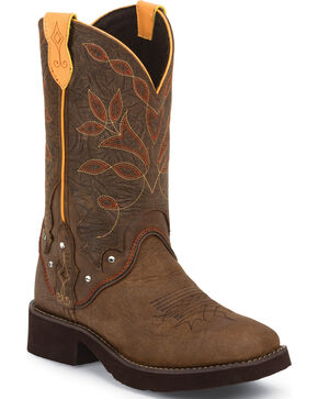 Justin Brown Barnwood Gypsy Cowgirl Boots - Square Toe , Brown, hi-res