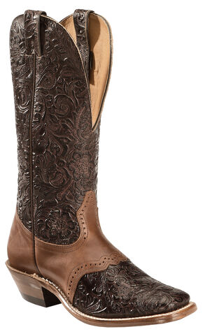 Boulet Hand Tooled Leather Cowgirl Boots - Square Toe, Tobacco, hi-res