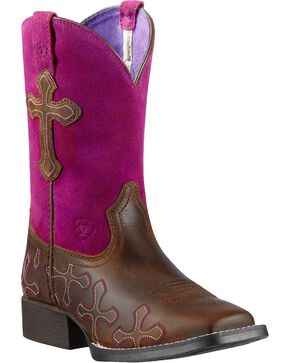 Ariat Youth Girls' Crossroads Cowgirl Boots - Square Toe, Tan, hi-res