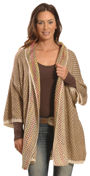 Lawman Women's Brown Crochet Wrap - Plus Sizing, Brown, hi-res