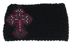 Shyanne Women's Embellished Cross Black Cable Knit Headband, , hi-res