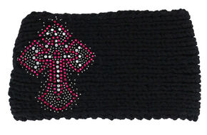 Shyanne Women's Embellished Cross Black Cable Knit Headband, Black, hi-res