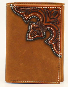 Nocona Scroll Embossed Overlay Tri-Fold Wallet, , hi-res