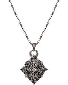 Wrangler Rock 47 Vintage Kitsch Diamond Shaped Flower Necklace, , hi-res