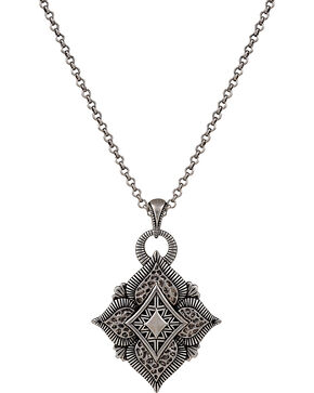 Wrangler Rock 47 Vintage Kitsch Diamond Shaped Flower Necklace, Antique Silver, hi-res