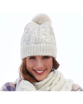 Shyanne Women's Cable Knit Pompom Beanie , Cream, hi-res