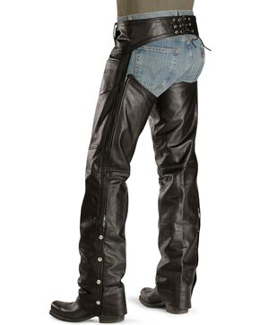Interstate Leather Motorcycle Chaps - Big, Black, hi-res