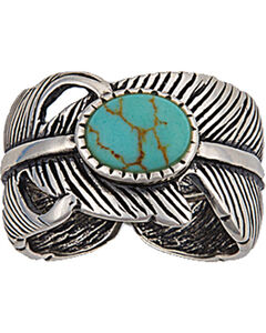 Montana Silversmiths Antiqued Silver Plume and Turquoise Ring, , hi-res