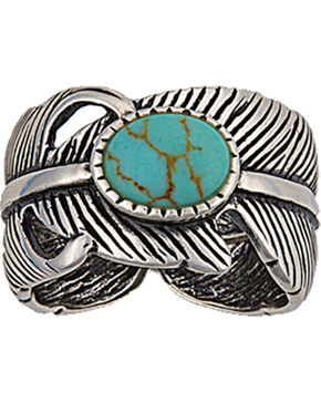 Montana Silversmiths Antiqued Silver Plume and Turquoise Ring, Turquoise, hi-res
