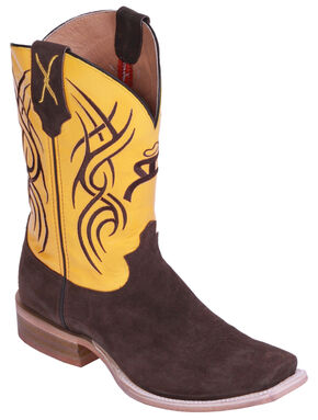 Hooey by Twisted X Neon Yellow Cowboy Boots - Square Toe, Chocolate, hi-res