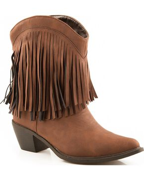 Roper Short Fringe Cowgirl Boots - Snip Toe, Brown, hi-res