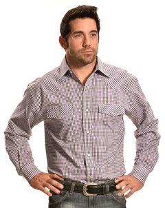 Crazy Cowboy Purple Mini-Plaid Western Snap Shirt, , hi-res