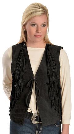 Red Ranch Women's Suede Fringe Vest, , hi-res