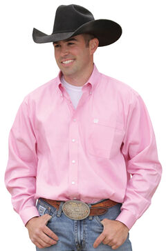 Cinch Long Sleeve Button-Down Solid Pink Shirt - Big & Tall, , hi-res