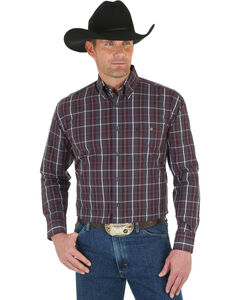 Wrangler George Strait Men's Navy Plaid Shirt, Wine, hi-res
