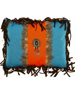 Carstens Turquoise and Orange Feather Medallion Pillow, , hi-res