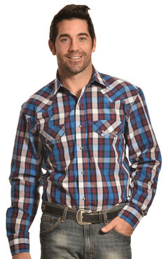 Crazy Cowboy Blue Plaid Western Sawtooth Snap Shirt, , hi-res