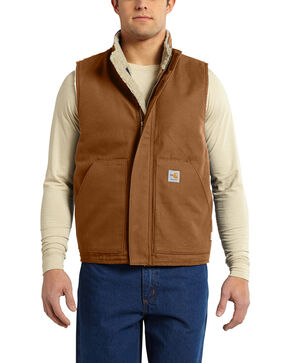 Carhartt Men's Flame Resistant Mock Neck Vest - Big & Tall, Pecan, hi-res