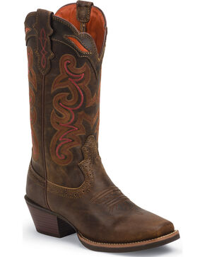 Justin Women's Silver Collection Light Coffee Waxy Cowgirl Boots - Square Toe , Coffee, hi-res