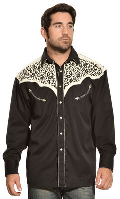 Gibson Trading Co. Cream and Black Embroidered Vintage Western Shirt, , hi-res