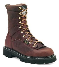 Georgia Low Heel Logger Boots - Round Toe, , hi-res