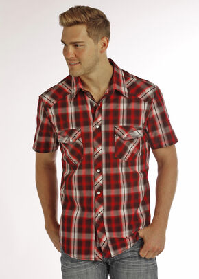 Rock & Roll Cowboy Men's Red Short Sleeve Plaid Shirt , Red, hi-res