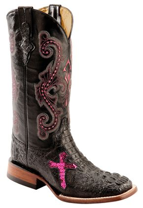 Ferrini Caiman Croc Print Cross Cowgirl Boots - Wide Square Toe, Black, hi-res