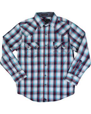 Cody James Boys' Long Sleeve Plaid Western Shirt, Blue/white, hi-res