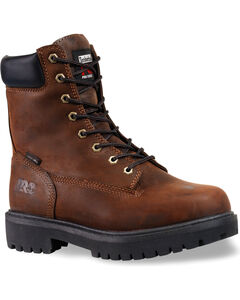 """Timberland PRO Men's Direct Attach 8"""" Waterproof Work Boots - Soft Toe, Brown, hi-res"""