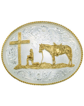 Montana Silversmiths Silver Engraved Christian Cowboy Western Belt Buckle, Silver, hi-res