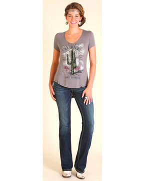 "Wrangler Women's Grey ""Be Wild"" Scoop Neck Tee, Hthr Grey, hi-res"