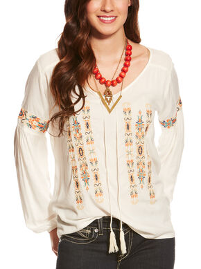 Ariat Women's Embroidered Marrakesh Top , Ivory, hi-res