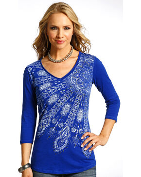 Panhandle Slim Women's Blue Raw Edge Printed Blue Shirt , Blue, hi-res